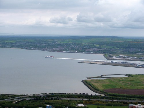View from Cavehill of Stena HSS and Belfast Lough