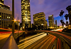 weaving light (Andy Kennelly) Tags: california city blue trees light red motion cars lines architecture night buildings dark concrete lights los colorful long exposure purple shot angeles curves 110 trails palm freeway after streams tribute railing curve weaving nothdr