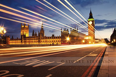 Warp Factor 10 (Stuart Stevenson) Tags: road longexposure bridge england london westminster night housesofparliament bigben lighttrails bluehour footpath riverthames westminsterbridge buslane redlondonbus doubleredlines canon5dmkii stuartstevenson