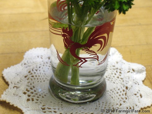 Parsley Bouquet in Rooster Glass 2