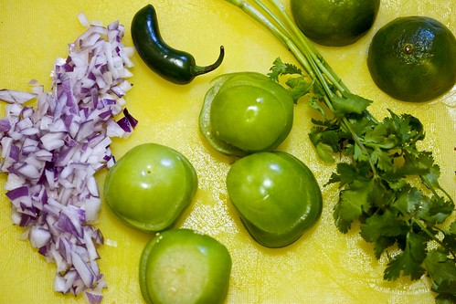 red onion, tomatillos, jalapeno, lime, cilantro