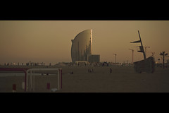 """Floating upon the surface for the birds"" (- Loomax -) Tags: barcelona sunset building beach marina spain sand quiet cranes cinematic warmcolors cinemascope"