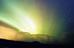 Green Lights (Samer Farha) Tags: longexposure film iceland northernlights auroraborealis november2002 ~45secondexposure reykjanesspeninsula