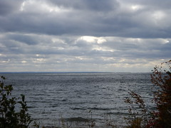DSC03600 (rburtzel) Tags: blue light vacation two lake fall water minnesota clouds drive harbor october body framed great north shoreline lakes scenic rocky superior shore through mn shining duluth 2009 harbors choppy