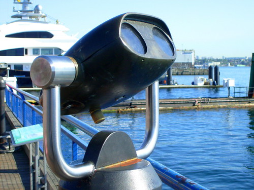 Lonsdale Quay in North Vancouver, coin-operated telescope at Lonsdale Quay dockside