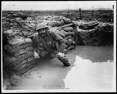 Flooded dug-out in front line trench