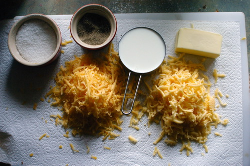 mise en place for mac and cheese