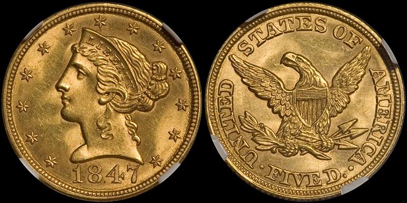 1847 $5.00 NGC MS64