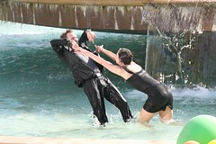 Sabrina pushing Andrew Tinker over in the fountain (silkolive) Tags: musician music film fountain rock dallas video model dfw denton musicvideo rockwall unt tinker filmcrew northtexas oliviamunn andrewtinker