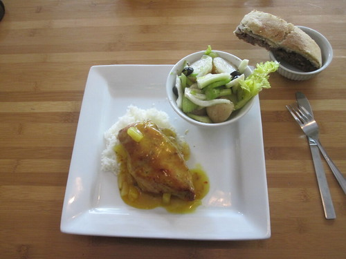potato salad, chicken in pineapple sauce, rice, apple-almond pie from the bistro - $6