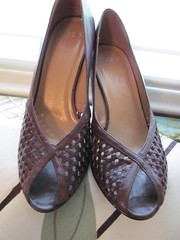 Vintage Nicole peep toe heels, dark brown (MySoCalledVintage) Tags: fashion vintage nicole shoes pumps 7 8 rubber heels espresso accessories lattice peeptoe darkbrown genuineleather mysocalledvintage