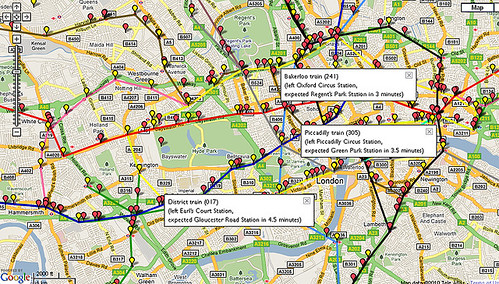 Live Map of Tube Trains - screengrab