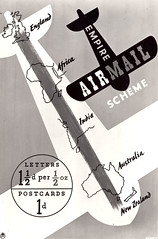 Empire Air Mail Scheme (The Postal Museum) Tags: africa newzealand england india poster design letters australia empire postcards royalmail airmail