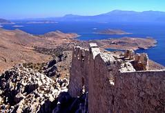 Halki,castello vista (silvia07(very busy)) Tags: blue sea castle tourism island holidays mediterraneo mare olympus greece grecia turismo rhodes viaggio rodi vacanze mediterraneansea isola halki chalki egeo aegeansea dodecaneso
