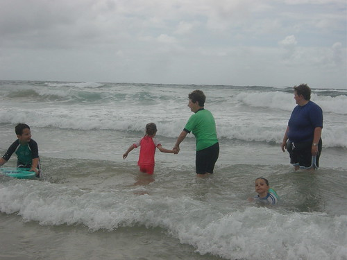 Grandma, me and kids in the surf