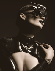 Black Heart (Busha_b) Tags: published covershot magazine punk steampunk dark darkbeauty altfashion alternative altmodel hat millinery latex leather goggles