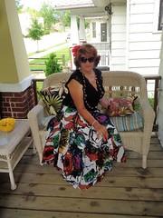 Over-Accessorized? Impossible! (Laurette Victoria) Tags: porch skirt auburn necklace laurette woman sunglasses