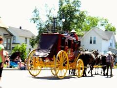 Parade - Wells Fargo Stage Coach! (Maenette1) Tags: parade wellsfargostagecoach horses cowboys street people houses menominee uppermichigan flickr365 nikoncoolpixl22camera 52weeksofphotographyweek29