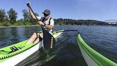 Willamette River Paddling (Kayaker Bill) Tags: oc1 willametteriver hukioutriggercanoe oregon portlandoregon paddling watersports pacificnorthwest puakeapaddle hukivr1
