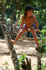 Trees, Beware (Universal Stopping Point) Tags: playing girl sunshine colorful village child skirt jungle panama tribe playful embera postedcausepeoplelikedit chagrasnationalpark