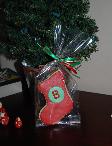 B monogram christmas stocking sugar cookie