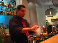 A bartender, who's surprisingly good at making martinis