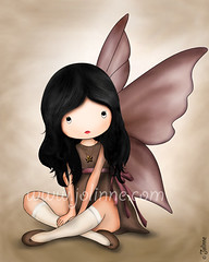 I Dropped From Heaven Just for You...Art Print (Beige background) (Jolinne) Tags: girls brown art girl kids illustration angel ink print children wings beige drawing picture teenagers teens newyear fairy gift buy etsy wallhanging eshopping roomdecore jolinne
