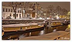 Winter 2009,Groningen stad,the Netherlands,europe (Aheroy(2Busy)) Tags: city winter snow holland art netherlands dutch architecture night photomanipulation fun town canal europe colours different sneeuw arts nederland surreal hallucination groningen stad beautifull singlerawhdr aheroy aheroyal