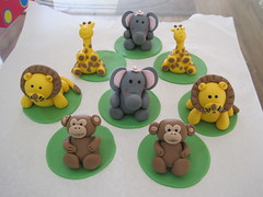 safari animals cupcake toppers (CakeCreationsByHuma) Tags: elephant cake monkey paste lion safari cupcake jungle giraffe modelling toppers animalsgumpaste