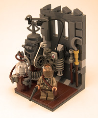 The Inventing Room (Titolian) Tags: lego room professor invention steampunk inventing brickarms brickforge