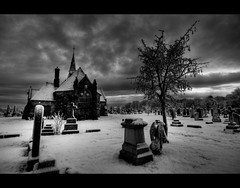 Snow!! (*Richard Cooper *) Tags: bw snow cemetery rake lane hdr wallasey wirral merseyside
