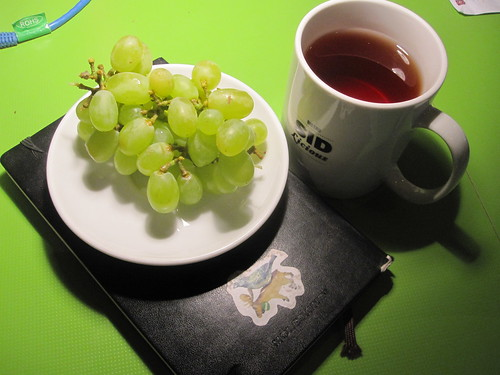 grapes and tea from the bistro - free