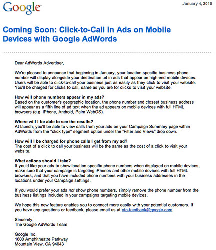 Google Click to Call on Mobile Ads