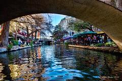 Under Riverwalk Bridge (Ellen Yeates) Tags: light vacation people sanantonio canon mall river shopping boat texas tour mark iii tourist resturant 1ds hdr riverwalk topaz canonmarkiii1ds elle