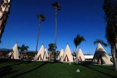 The Wigwam Motel, San Bernadino, California, lets visitors sleep in a teepee with plasma screens and comfy beds
