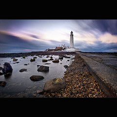 St Mary's | Cold Exposure (Reed Ingram Weir) Tags: longexposure winter sunset sky cold nikon rocks tripod feel explore northumberland pools lowtide 24mm fp frontpage causeway stmaryslighthouse d700 10stopfilter reedingramweir