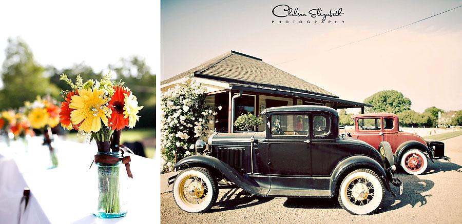 vintage antique car gerber daisy daisies wedding details los olivos santa ynez photography