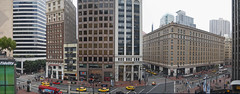 market street at the palace panorama (pbo31) Tags: sf sanfrancisco california street city winter urban panorama usa color northerncalifornia skyline architecture grey hotel nikon cityscape view traffic terrace taxi over january overcast palace panoramic lunchhour structure bayarea d200 marketstreet montgomerystreet 2010 2ndstreet citystreet sanfranciscocounty perfectpanorama