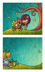Baby Shower (Anita Mejia) Tags: bear baby cute bunny art girl illustration digital shower mixedmedia mother card gift kawaii inks inviation chocolatita anitamejia