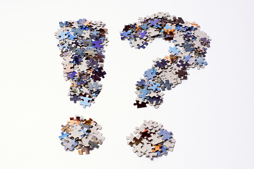 Punctuation marks made of puzzle pieces by Horia Varlan, on Flickr