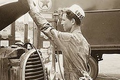 Gas Station Attendant, US 1, NY Ave., Washington DC, 1940 (Mjr Kool) Tags: auto new york old travel bw usa up hat car station vintage hair geotagged washingtondc us automobile industrial artistic market cut 1940 scenic hats hairdo grill gas hood service mass texaco avenue hairstyle lead geotag mechanic radiator oval fuel motoring ebsa trevorbayne ovalradiatorgrill