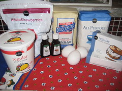 ingredients for pastel de queso y frutas