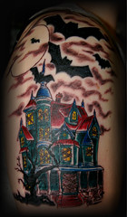haunted house (Billy Whaley Tattoo) Tags: new moon house color halloween tattoo idea scary arm kentucky evil indiana haunted albany billy louisville bats whaley