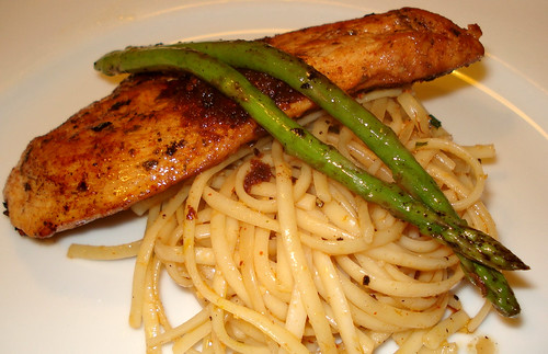 Grilled Chicken Breast atop Saffron Tomyam linguine