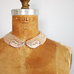 vintage 50's beaded collar (thegreedyseagull) Tags: old pink leaves shop vintage vines antique cream jewelry pearls peter 1950s 50s thriftstore pan etsy collar beaded updates thrifting treasurehunt weeklyfavorite thegreedyseagull