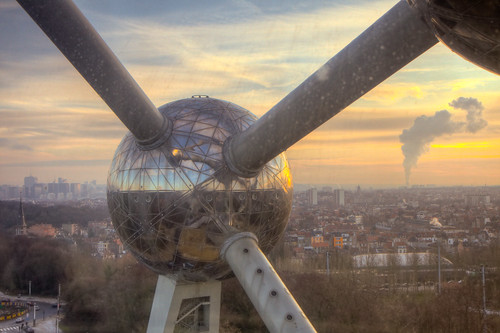 Atomium Sphere at Sunset