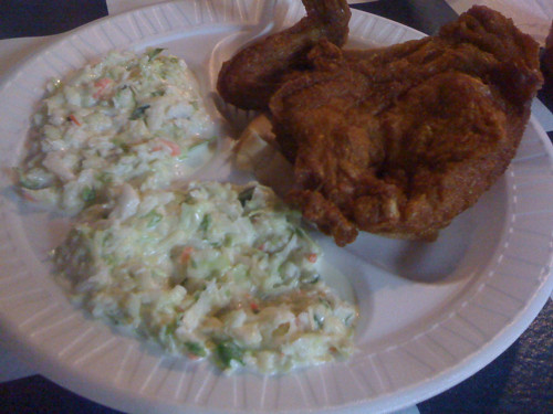 A two piece white meat meal from Guss (with an extra side of slaw).