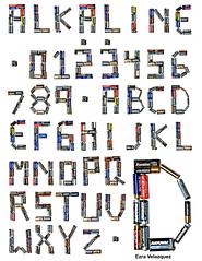 Alkaline Font (Ezra Velazquez) Tags: college set word typography design graphic d character battery cell environmental font ezra alphabet batteries aa velazquez aaa carleton a