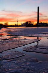 Icy (Benson Kua) Tags: city winter sunset toronto ontario canada reflection tower ice beach cn woodbine mg8400