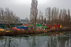 Hellevoetsluis... Boeiuh!!! (M van Eden) Tags: blue trees red reflection green ice water yellow bomen groen blauw buoys geel rood hellevoetsluis hdr buoy ijs reflectie boei boeien buoyant